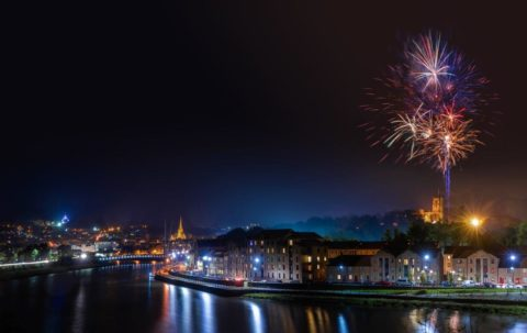 2018 Fireworks Spectacular, over the River Lune and St George's Quay, Lancaster. Photographer Credit Robin Zahler