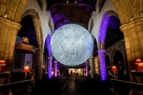 Museum of the Moon by Luke Jerram at Light Up Lancaster 2019 Credit Robin Zahler