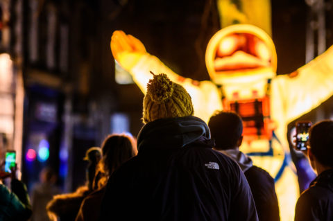 Spaceman by Alan Cockroft and Blackpool Illuminations at Light Up Lancaster 2019 Credit Robin Zahler