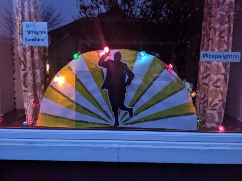 With thanks to Kay, Ian and Thomas for their Bring Me Sunshine window: Like many we have missed Light up Lancaster this year so thought we'd participate in this initiative  - our design is a nod to our location (the other side of the river!) and one of Morecambe's greatest sons.  We hope it will bring a smile to the faces of our passers-by.